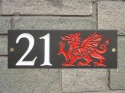 Welsh slate house plaque dragon