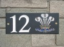 welsh slate house plaque with feathers