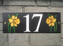 welsh slate houseplaque with daffodils