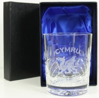 welsh dragon crystal whiskey glass